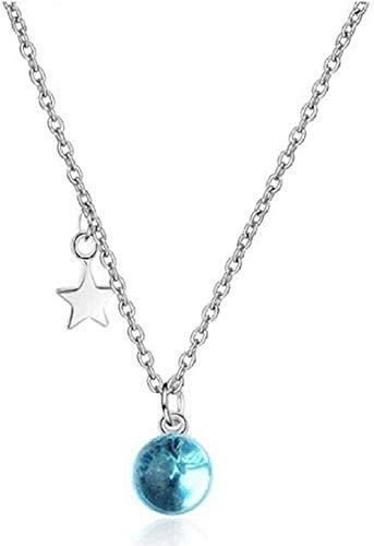 Yiffshunl Collar Collar Collar de Estrellas de Cristal Azul Collar Colgante Artificial Joyería Dulce de Moda