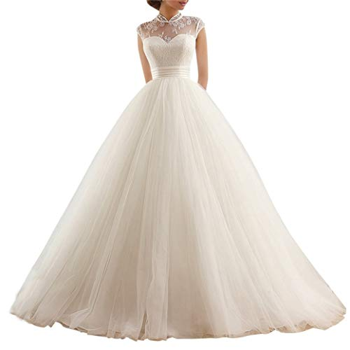 XUYUDITA Perfekte Hochzeitskleider Vintage High Neck Appliques A Line Brautkleider Elfenbein-46 Plus