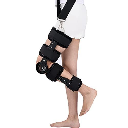 Rodillera con bisagras ROM Soporte ajustable para inmovilizador de rodilla Post Op Soporte de rodilla Ortesis Protector inmovilizador para pierna izquierda y pierna derecha, tanto hombres como