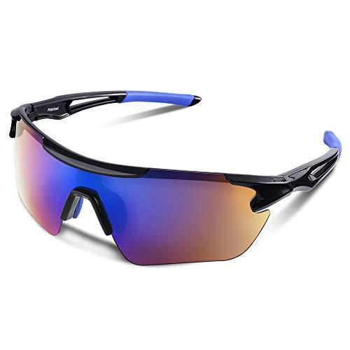 スポーツサングラス 偏光レンズ 自転車 登山 釣り 野球 ゴルフ ランニング ドライブ バイク テニス スキー 超軽量 UV400 TAC TR90 紫外線防止 メンズ レディース ユニセックス サングラス 安全 清晰 (ブルー #2)