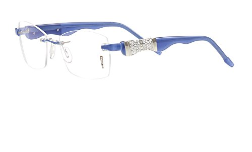 Switch it! Exclusive Garnitur mit Steinen - Acetat Wechselbügel in verschiedenen Farben (9079: blau-silber)