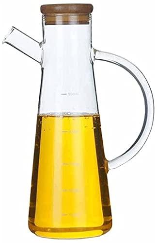 XUERUIGANG Botella de Aceite, Botella de Cristal del dispensador de Aceite de Oliva de 500 ml, Botellas sin Plomo y vinagre para la Cocina Conjunto de contenedores de Cocina (Tapa de bambú)