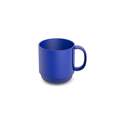 Ornamin Becher 220 ml blau (Modell 508) / Mehrweg-Becher Kunststoff, Kaffeebecher, Henkelbecher