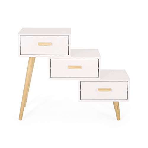 Christopher Knight Home Giselle 3 Drawer Tiered Cabinet, Matte White, Natural