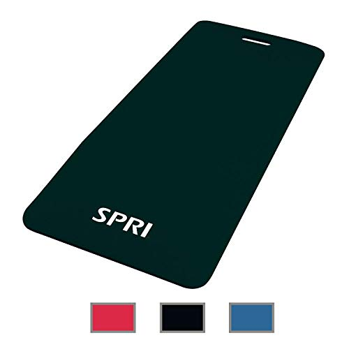 "SPRI Exercise Mat for Fitness, Yoga, Pilates, Stretching & Floor Exercises, Black, 48""L x 20""W x 1/2-Inch Thick"