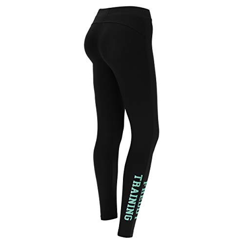 FREDDY Leggings Regular Fit con Stampa Training Fondo Gamba - Nero-Verde Acqua - Extra Small
