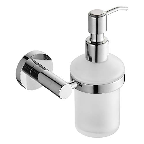 Royal H&H Bathroom Liquid Soap Dispenser w/Round Base,Wall Mount Soap/Lotion Dispenser Pump Ideal for Bathroom or Kitchen, Home Hotel - Frosted Glass/Brass Polished Chrome Finished