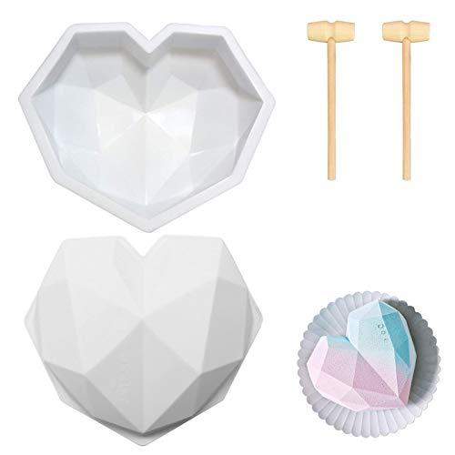 Xinmeng 3D Silikon Herzform Schokoladenform Herz Silikonform Herzform Silikonform mit Mini Holzhammer für Mousse, Schokolade, Brownie, Käsekuchen, Gelee, Eis, Fondant (A)