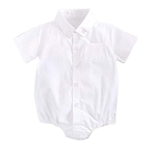 CCIIO Algodón puro de manga corta bebé mamelucos diseño simple camisa de color sólido