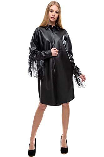 Tov Fringe Faux Leather Dress Black XL
