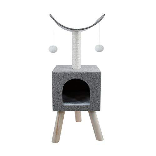 Huanlei Kratzbaum-Turm Es gibt Zwei Interactive Bälle wie eine Katze Nest Kratzbaum Massivholzkletter Katze Verwendet Werden Rahmen Sisal-Material Kratzmöbel (Color : Gray, Size : Free Size)