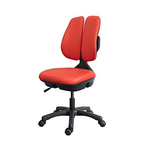 デュオレスト デスクチェア 回転椅子肘なし赤 コンパクト 日本製 合皮張り地 ST-7000W RED