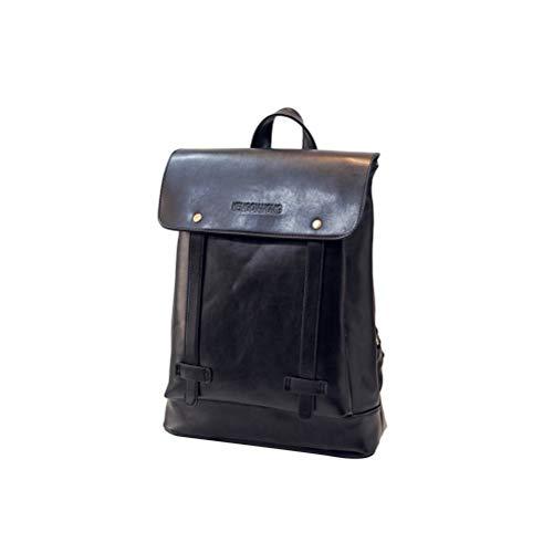 TENDYCOCO Vintage en Cuir PU Casual Backpack College Backpack Daypack Business Travel Bag Ordinateur Bookbag Sac à Dos pour Ordinateur Portable pour Homme et Femme (Noir)