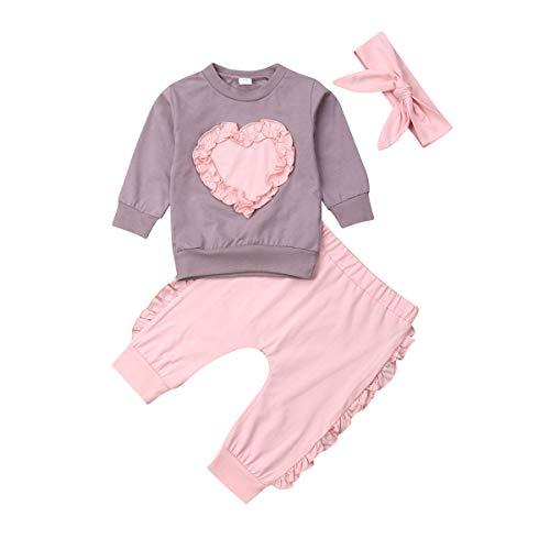 MY Household Ensembles de Vêtements de Pyjamas pour Top et Pantalon Ensemble Costume Infant Toddler Girls Sweat Set Hiver Automne Vêtements Outfit 0-2 Ans Bébé Tops Pantalon avec Bandeau Outfits Set