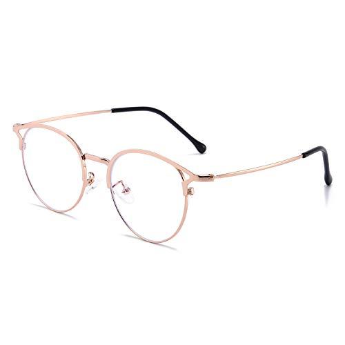 Blaulichtfilter Brille Anti Blaulicht Brille Katzenauge Computerbrille Ohne Sehstärke Metallgestell Brille Blockieren Blaulicht Pc Gaming Brille Damen (RoséGold)