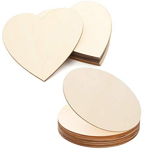 LEZED Holzplatte Rund Herz Holzscheiben Dünne Holz Platte Holzplatten zum Basteln Unvollendete...