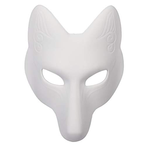 PRETYZOOM DIY Leere Fuchs Maske Halloween Cosplay Maske Tanz Cosplay Party Maskerade Kostüm Cosplay Zubehör Einfache Maskerade Maske für Frauen Mädchen Halloween Party Gefälligkeiten 1St