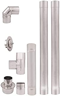 comprar comparacion Tubos de escape de estufa pellets acero inoxidable 80mm AISI 304 2m. Revestimiento chimenea recto 90°Codo T Tapón de limpi...
