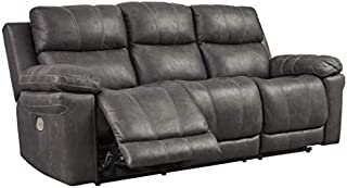 Signature Design by Ashley Erlangen Power Reclining Sofa with Adjustable Headrest Midnight
