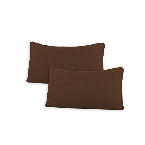 SHC Textilien Conjunto de Dos Fundas de Almohada, Funda de Almohada, Fundas 100% algodón con Cremallera - 15 Colores y 5 tamaños 40x60 cm marrón/Chocolate