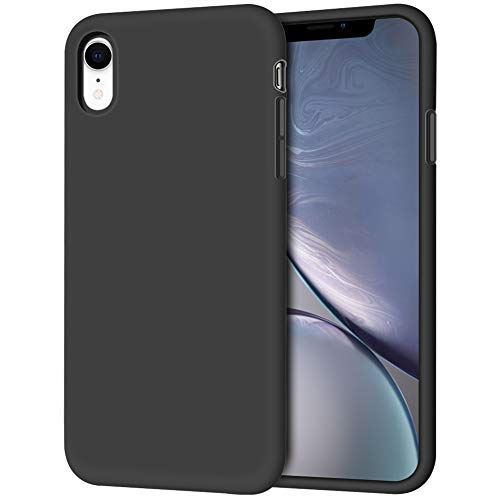 iPhone XR Case, Anuck Soft Silicone Gel Rubber Bumper Phone Case with Anti-Scratch Microfiber Lining Hard Shell Shockproof Full-Body Protective Case Cover for Apple iPhone XR 6.1' 2018 - Black