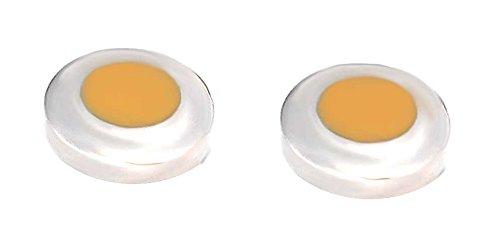 Unbekannt Überziehknöpfe Knopfclips Button Topper Cover rund silbern hellbrauner Lack + Geschenkbox die ideale Alternative zum Manschettenknopf! Sale