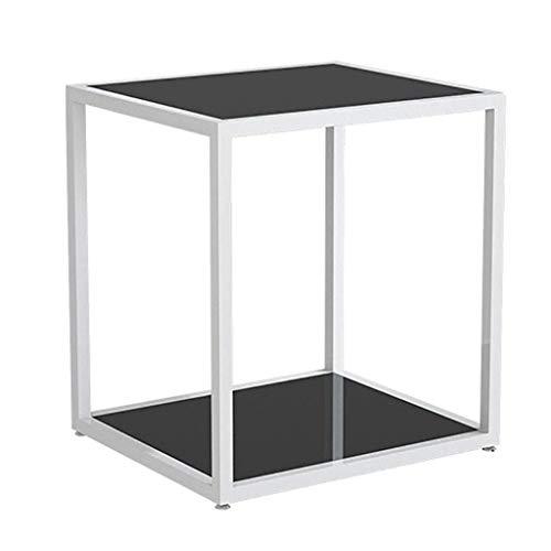 GAXQFEI Tablas de Café de Snack Final Mesas de Noche Muebles de Sala de Estar Display Accent Sofá con M de Metal Vidrio Multiusos Estilo Contemporáneo para Pequeños Espacios en Casa