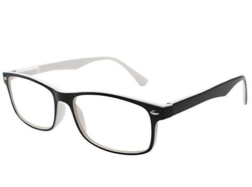 TBOC Gafas de Lectura Presbicia Vista Cansada – Graduadas +2.50 Dioptrías Montura de Pasta Bicolor Blanca y Negra Diseño Moda para Hombre Mujer Unisex con Lentes de Aumento para Leer y Ver de Cerca