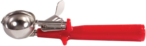 Winco Ice Cream Disher with Red Handle, Size 24, Stainless Steel