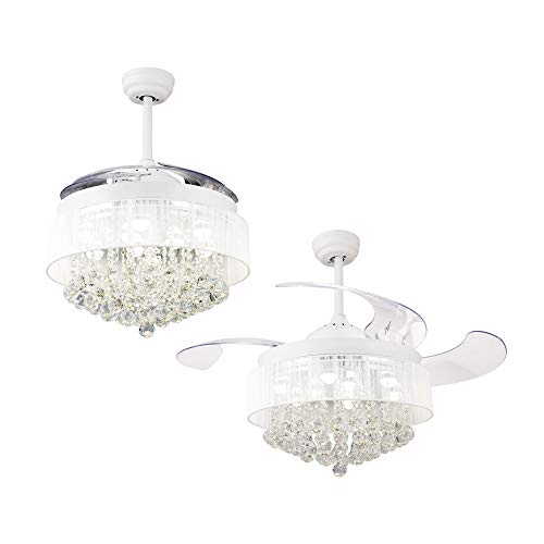 Ceiling Fans with LED Lights 46 Inch Ceiling Fan with Remote Crystal Chandelier Fans with...
