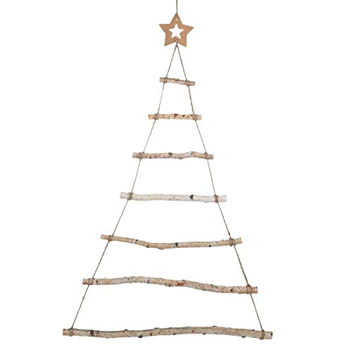 GWHOLE Holzleiter Weihnachtsbaum zum Aufhängen Adventskalender Deko Weihnachten Wanddeko 90 x 60 cm