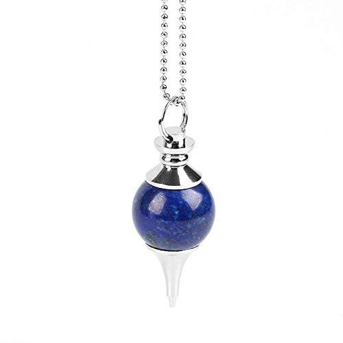 YOUHU Collares Pendientes De Piedra,Unisex Moda Yoga Natural Redondo Lapislázuli Colgante De Piedras Preciosas De Moda Cadena De Cuentas De Plata Encantos Joyería Niñas