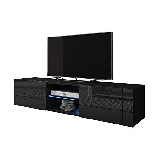 Elegant – TV-Lowboard / TV-Bank / Fernsehschrank (140 cm, Schwarz Matt / Schwarz Hochglanz, LED in Blau)