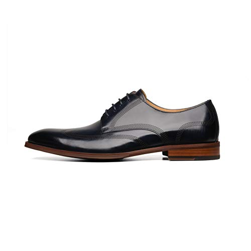 COMOTEK Italian Mens Dress Shoes, Full Grain Leather Derby, Comfortable Dress Shoes for Men-AGHARTA,Navy,US 8.5