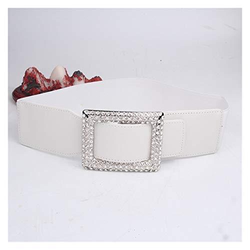 LPZW Nuevo diseño Cintura Blanca para Las Mujeres Plata de Lujo Cristal Rectángulo Cinturón de cinturón de cinturón de cinturón Negro Ancho Ancho Cintura Elástica Chica (Color : White)