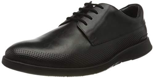 Clarks Herren Helston Walk 261487808 Derbys, Schwarz (Black Leather Black Leather), 43 EU