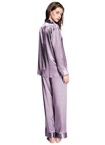 Damen-Schlafanzug-Set, Satin, Grau M