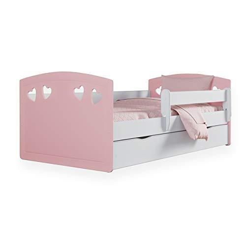Bjird Kinderbett Jugendbett 80x140 80x160 80x180 Puderrosa mit Rausfallschutz, Matratze, Schublade und Lattenrost Kinderbetten für Mädchen und Junge - 180 cm
