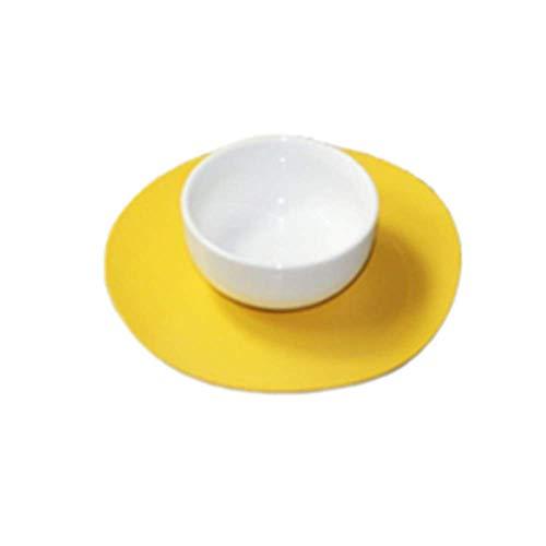 Posavasos de bebida de cuero de PU redondos adecuados para tipos de tazas y tazas, juego de 6 (11 cm) Amarillo
