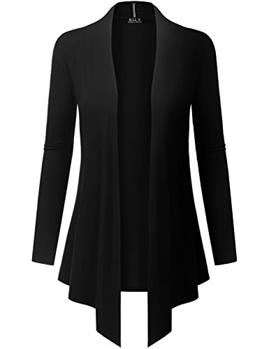 Because I Love You Women's Open Front Drape Hem Lightweight Cardigan - X-Large - Black