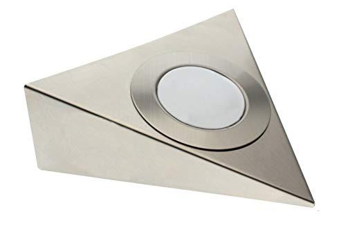 Trango 1er Set LED Unterbauleuchte TG6739-12 - Einbauleuchten - Einbaustrahler - Küchen-Unterbauleuchten - Küchenleuchte aus rostfreiem Edelstahl incl. 1 x 3 Watt 3000K warmweiß LED Modul direkt 230 Volt beliebig erweiterbar
