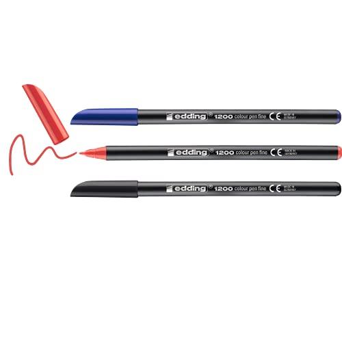 Edding 1200 rotulador de color de trazo fino - negro, rojo, azul - 3 rotuladores - punta redonda de 1 mm - marcador dibujar y escribir