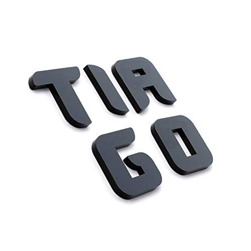 Carmetics Black 3D Letters Stickers Logo for Tata Tiago (Medium)