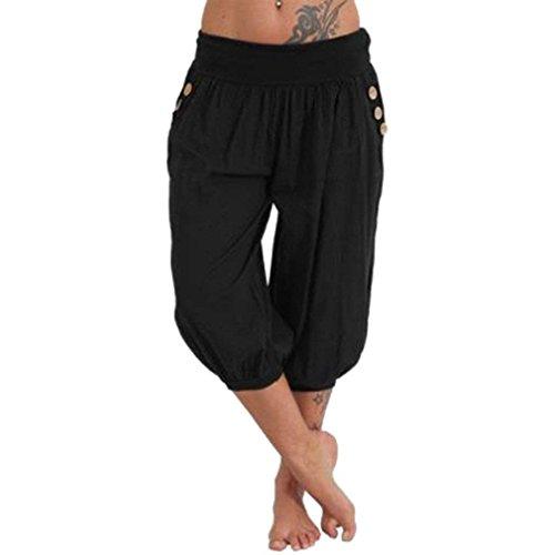 Mujer Pantalones Harem Verano Elegantes Moda Casual Pantalon Pirata Mujer Color Sólido Cintura Alta con Bolsillos Basicas Pantalones De Jogging Pantalon Disfraz