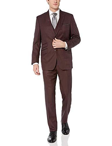 Adam Baker Three-Piece Burgundy Modern Fit Suit
