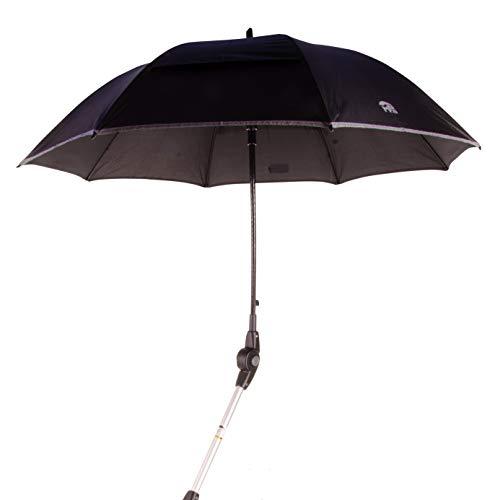 MPB® Rollatorschirm 99 SR (PASSEND FÜR 99% ALLER ROLLATOREN!), Regenschirm und Sonnenschirm, schwarz-reflektierend, mit 2 Verstellgelenken, Mikrofaser-Schirm mit