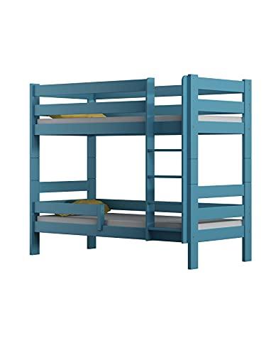 Children's Beds Home - Litera de madera maciza - Toby para niños y niños pequeños - Tamaño 180 x 90, color azul, cajón no, colchón de látex de alta resistencia de 12 cm