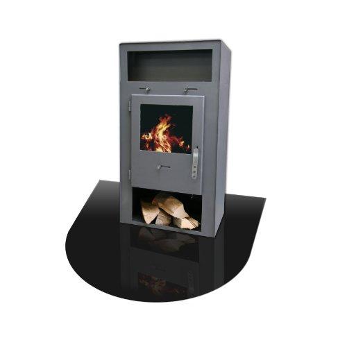 KAMINO FLAM Bodenplatte 555245 schwarz, hitzebeständige Hitzeschutzplatte, einbrennlackierte Bodenschutzplatte aus lackiertem Stahlblech, die Schutzfläche ist sehr dünn und stellt keine Stolperfalle dar, die Plattenmaße betragen ca. 120 x 100 x 0,2cm