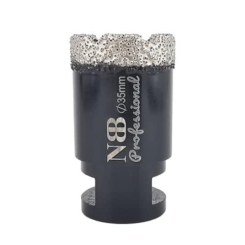NBB Broca de diamante soldada al vacío con M14, para taladrar en seco y en húmedo profesionalmente en porcelana dura, cerámica, baldosas, granito, mármol, rápida, para Amoladora Angular (Dia.35mm)