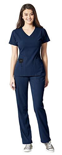 WonderWink Aero Women's Scrub Set Bundle - 6129 V-Neck Scrub Top with Pockets & 5129 Cargo Scrub Pants & MS Badge Reel (Navy - Small/Small)